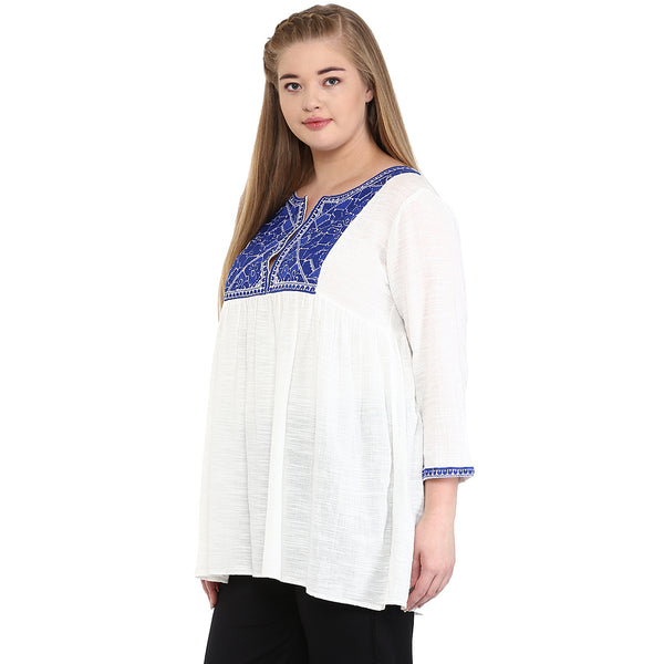 EMBROIDERED BABY DOLL TUNIC - Miway Fashion