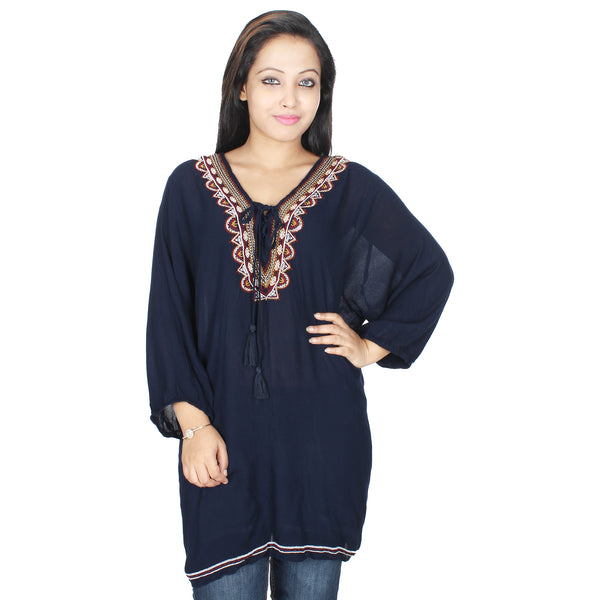 BOHO EMBROIDERED TIE UP  LONG TUNIC - Miway Fashion