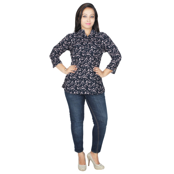 WINK PLUS WOMEN'S PRINTED NAVY BLOUSE