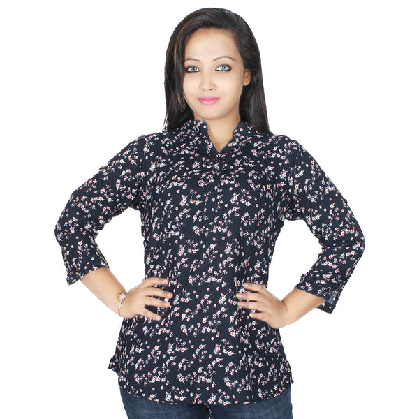 WINK PLUS WOMEN'S PRINTED NAVY BLOUSE - Miway Fashion