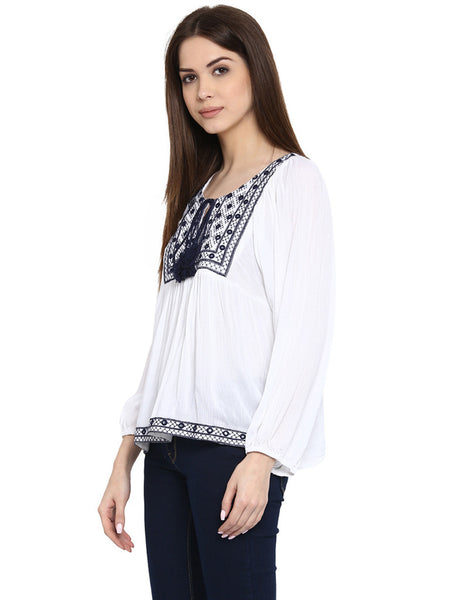 MIWAY White Embroidered Tunic
