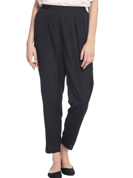 Miway Women  Black Solid Trouser