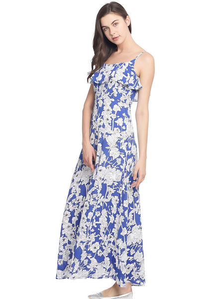 MARINE FLORAL COLD SHOULDER MAI DRESS - Miway Fashion