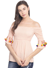 SMOCKED PEACH SOLID ACCESSORIZED CROP TOP - Miway Fashion