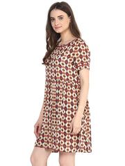 PRINTED SHIFT DRESS - Miway Fashion