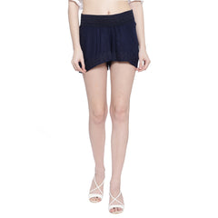 Miway Women  Navy Solid Shorts - Miway Fashion