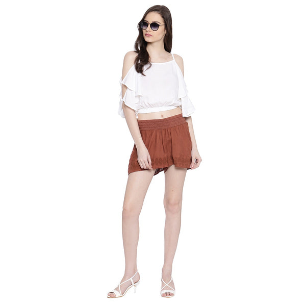 FANCY ELASTICATED EMBROIDERED SHORTS - Miway Fashion