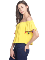 Miway Women  Yellow solid Crop Top - Miway Fashion