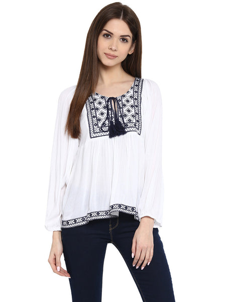 WHITE EMBROIDERED TUNIC - Miway Fashion
