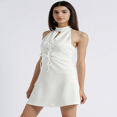 Miway Women's Scuba Off White Solid Casual Dress - Miway Fashion