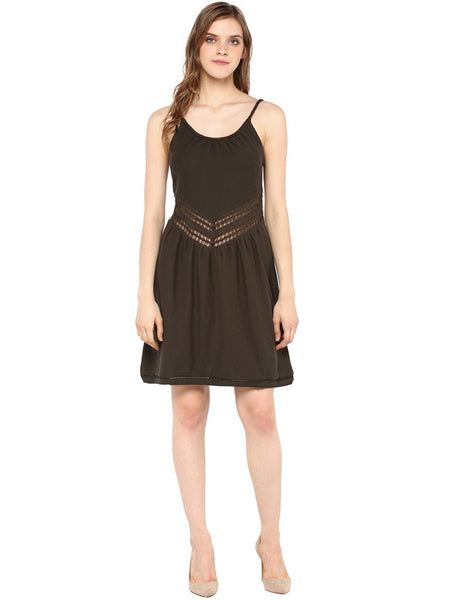MIWAY Khaki A-line Cut Out Dress