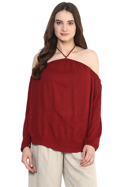 HALTER NECK BARE SHOULDER TOP - Miway Fashion