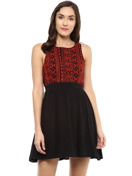 TIE BACK EMBROIDERED SWING DRESS - Miway Fashion
