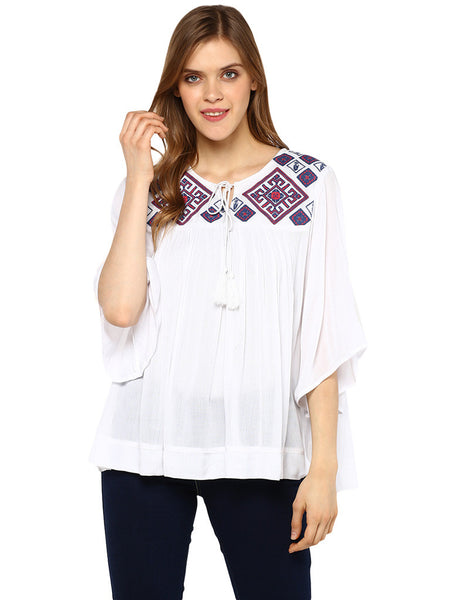 Miway Embroided Babydoll Tunic - Miway Fashion