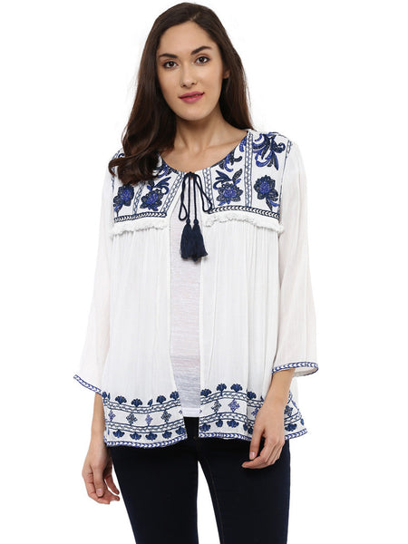 EMBROIDERED OPEN BOHEMIAN JACKET - Miway Fashion