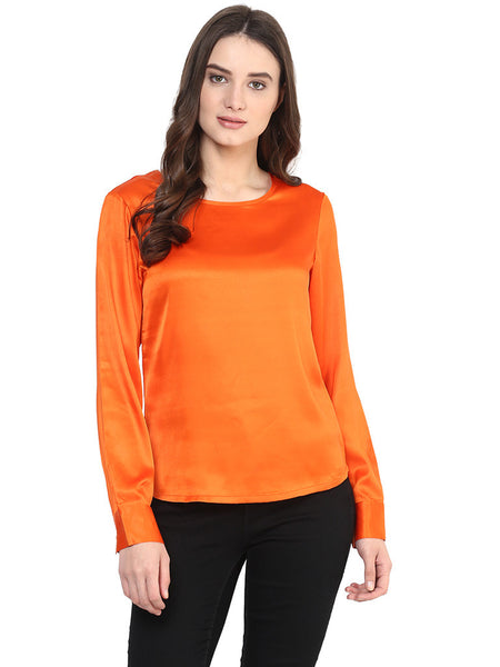 ORANGE SATIN TOP - Miway Fashion