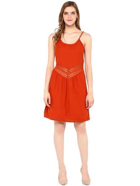 Y RUST  PEEK-A-BOO WAIST LINE DRESS - Miway Fashion