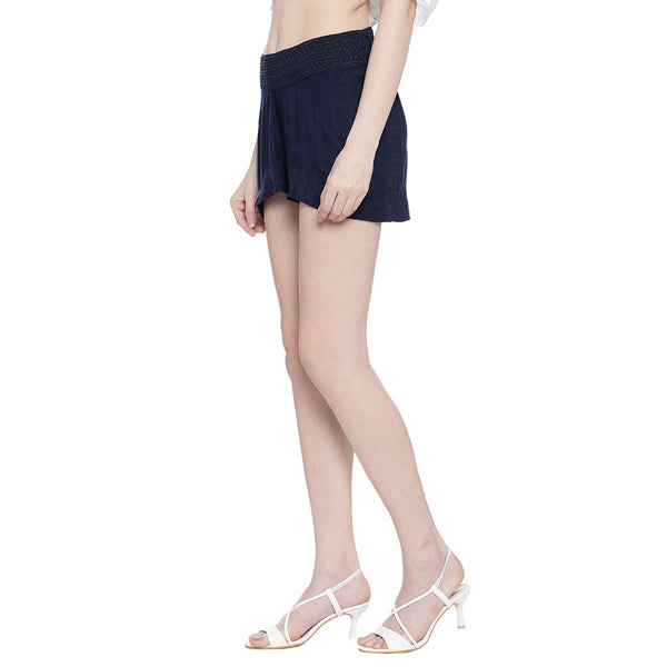 Miway Women  Navy Solid Shorts
