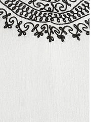 WHITE EMBROIDERED NECK TUNIC - Miway Fashion