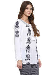 Miway Viscose  Embroidered White Top