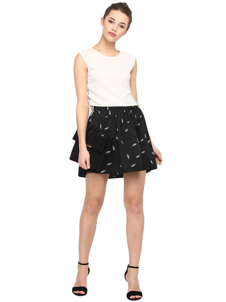 SHORT LEAF PRINT SKIRT - Miway Fashion