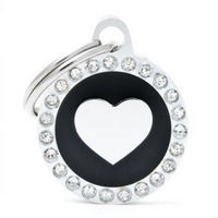 My Family Glam Heart Black ID Tag Charm