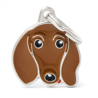 My Familyy Friends Dacshund ID Tag Charm Brown