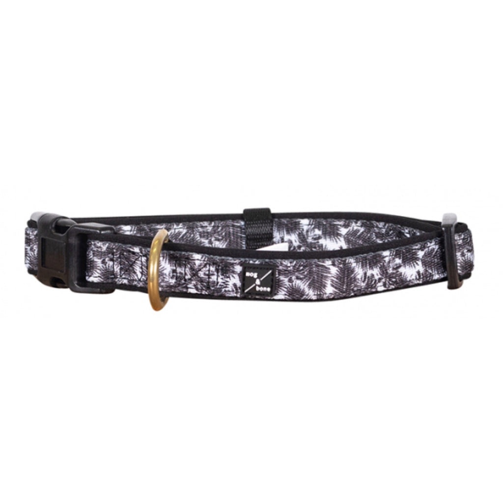 Dog Collar Mog & Bone Neoprene Tropical Leaf Black