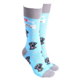Dog Society Socks Black Labrador Sky Blue