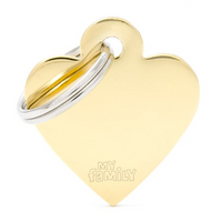My Family Basic Heart Gold ID Tag Charm Small