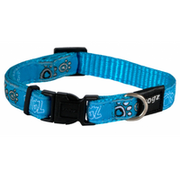 Rogz Fancy Dress Collar Turquoise Paws