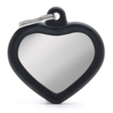 My Family Hush Heart ID Tag Charm Chrome