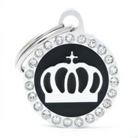 My Family Glam Crown Black ID Tag Charm