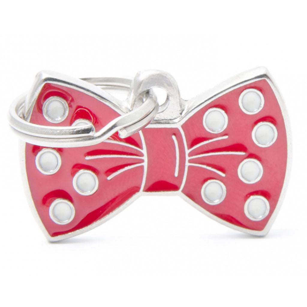 Dog ID Tag Charm My Family Bow Pink