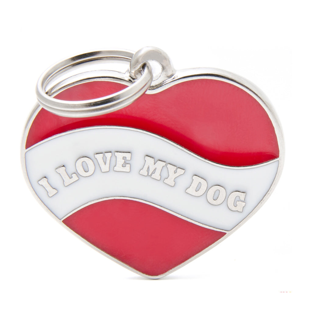 My Family I Love My Dog Heart ID Tag Charm