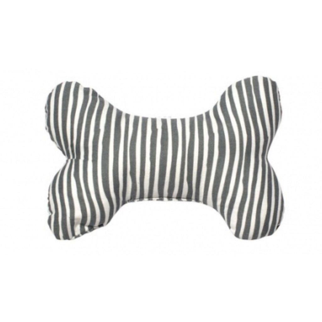 Dog Soft Toy Mog & Bone Stripe Print Grey