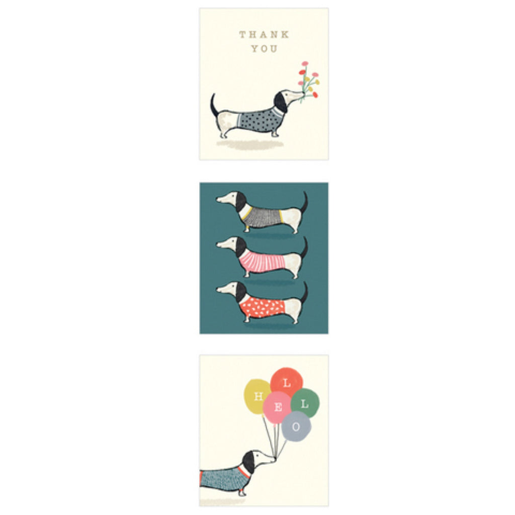 The Art File Dachshunds Note Cards Value 12 Pack