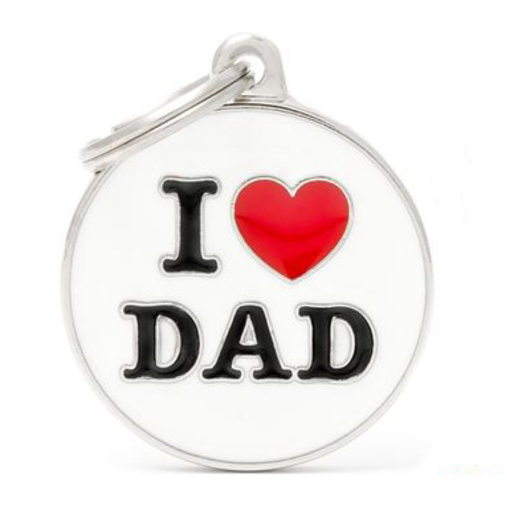 Dog ID Tag Charm My Family I Love Dad