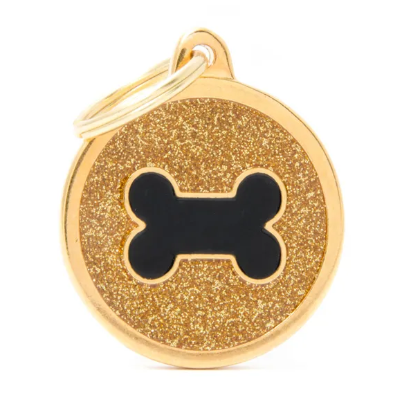 My Family Shine Circle Bone Gold ID Tag Charm