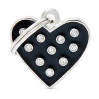 My Family Chic Black Heart ID Tag Charm