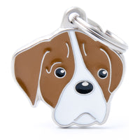 My Family Friends Boxer ID Tag Charm Brown / White