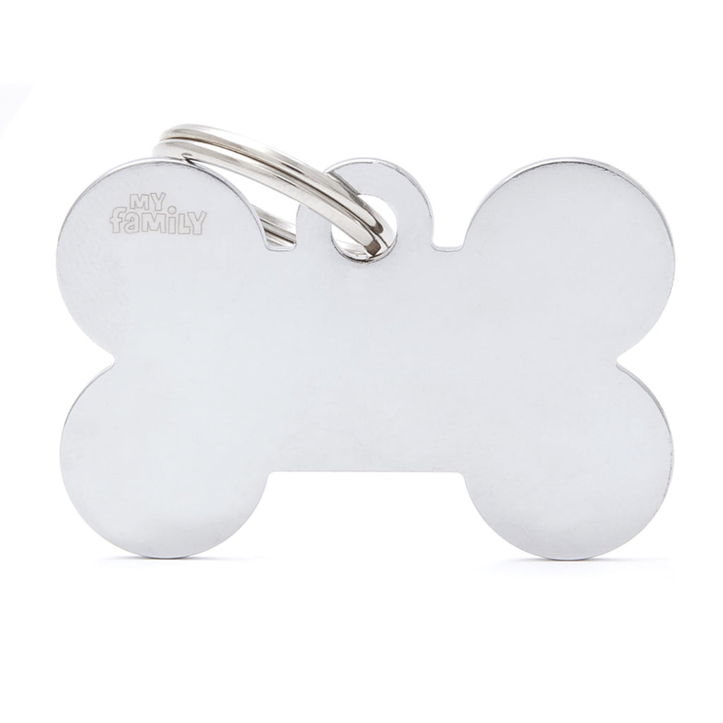 My Family Basics Bone Chrome ID Tag Charm