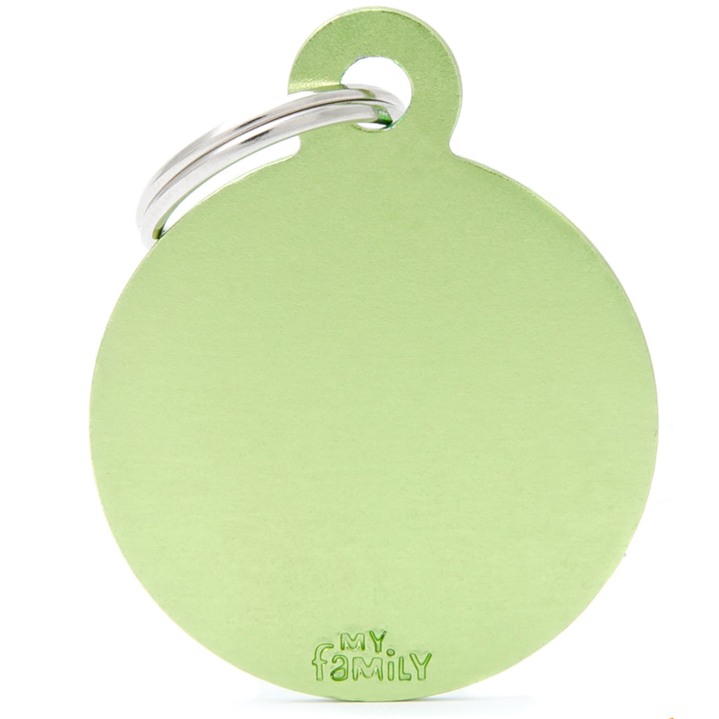 My Family Basic Circle Green ID Tag Charm