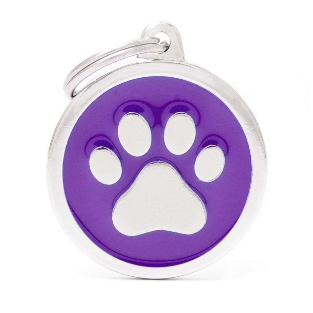 My Family Classic Paw Purple ID Tag Charm