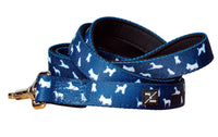 Mog & Bone Neoprene Dog Print Lead Navy