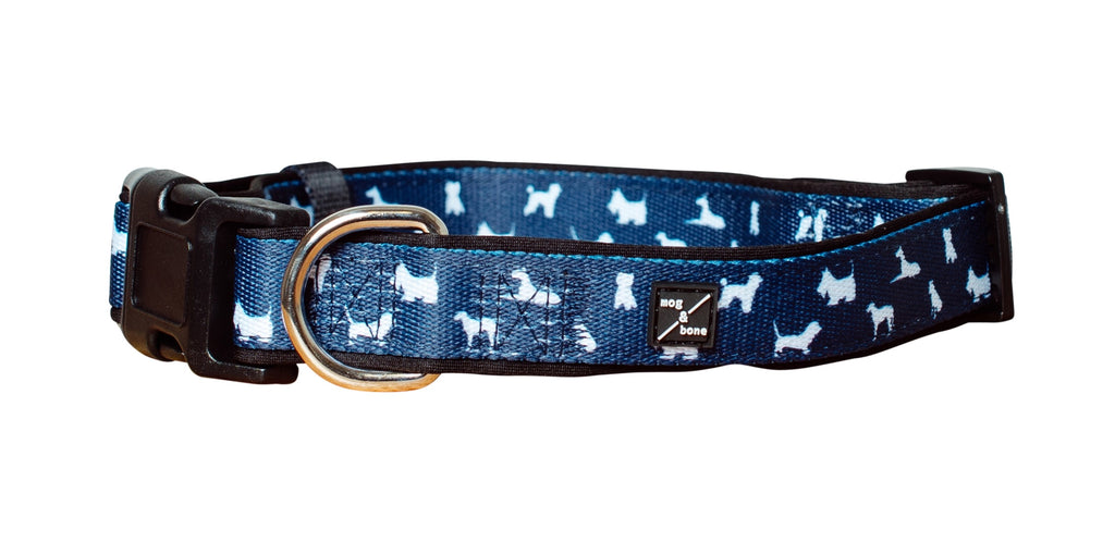Mog & Bone Neoprene Dog Print Collar Navy