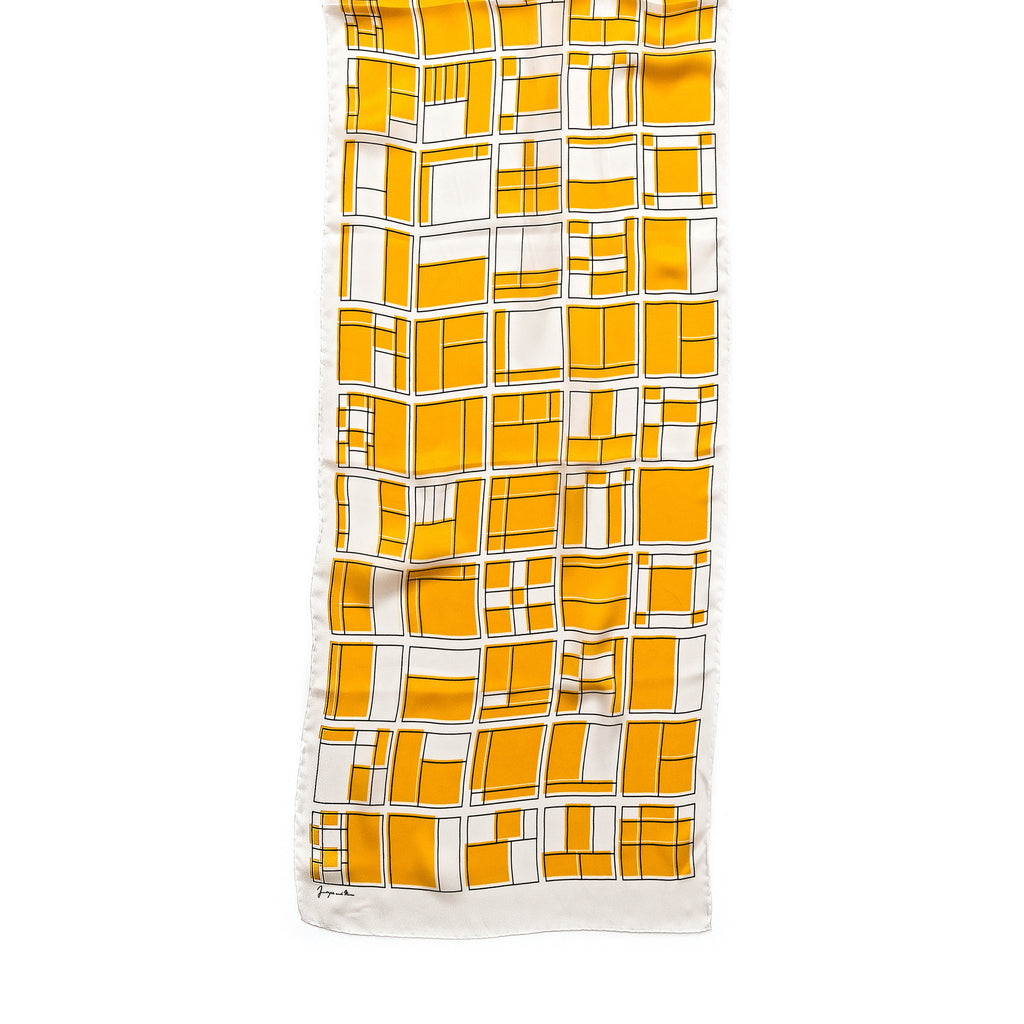 White & Yellow Rooms Silk Scarf