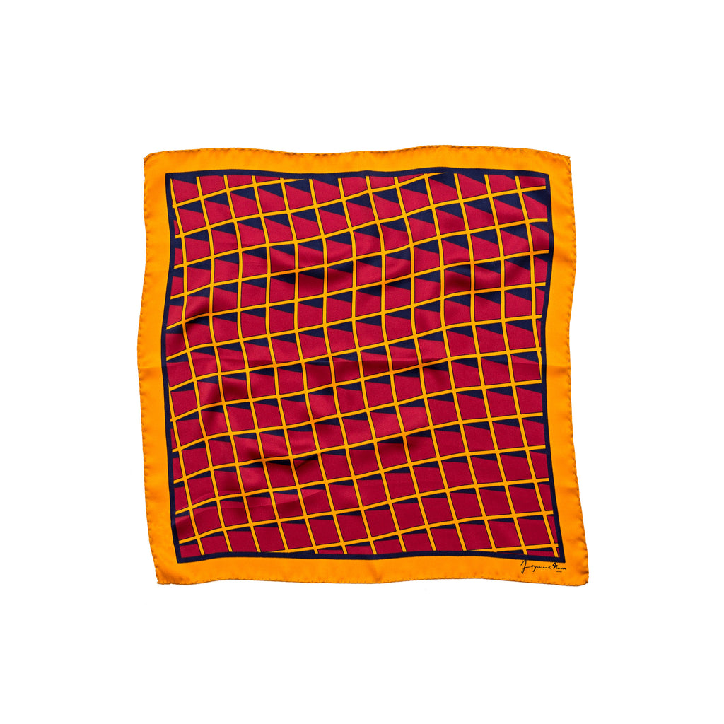 Orange Grid Silk Bandana
