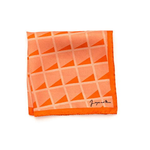 Mini Peach Grid Silk Pocket Square