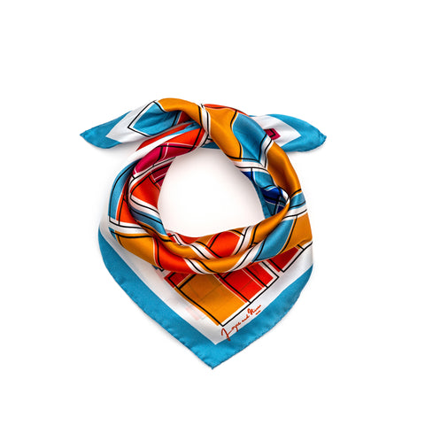Orange Rooms Silk Bandana